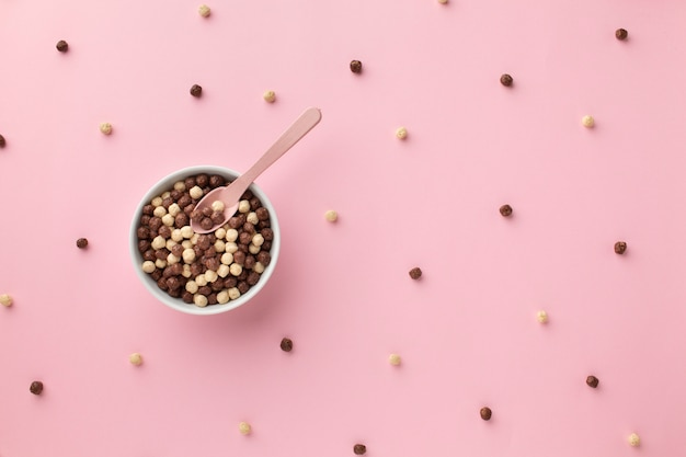 Top view delicious cereal bowl on a table Free Photo