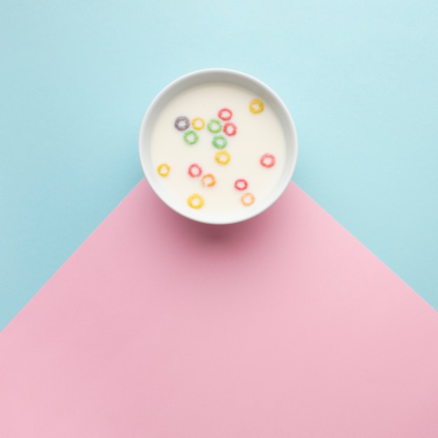 Top view delicious cereal bowl Free Photo
