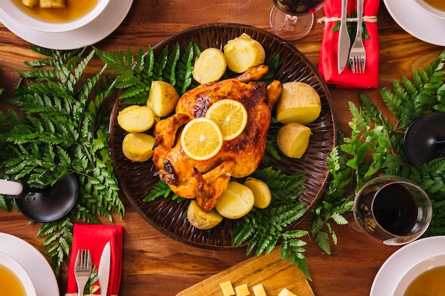Free Christmas Dinner.Top View Of Delicious Christmas Dinner Photo Free Download