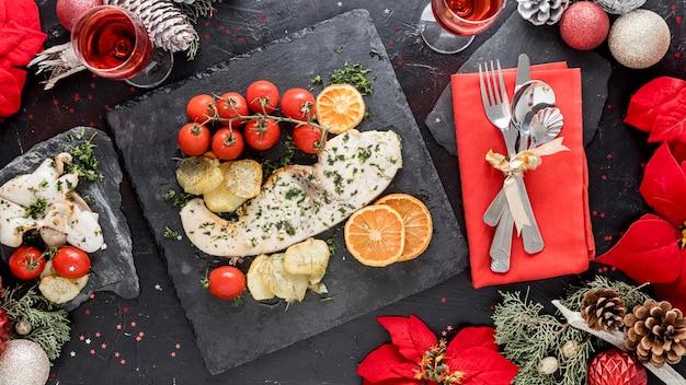 Вид сверху вкусной рождественской еды Бесплатные Фотографии