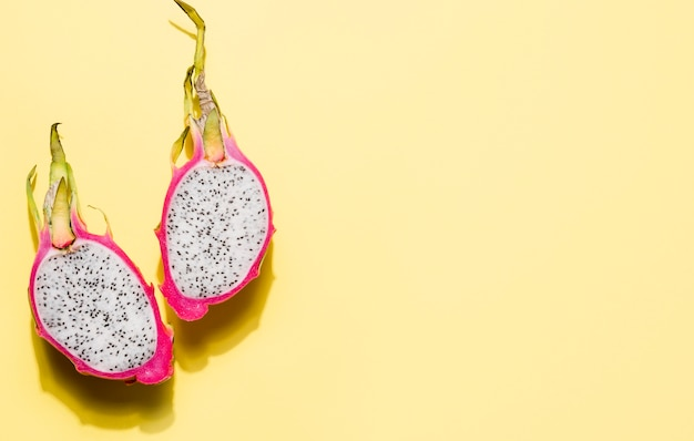 Top view delicious dragon fruit with copy space Free Photo