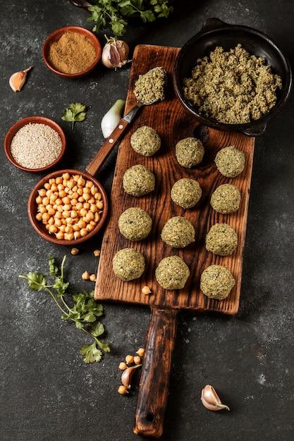상위 뷰 맛있는 유태인 팔라 펠 무료 사진