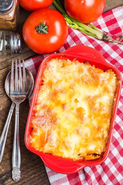 Top view of delicious lasagna Free Photo