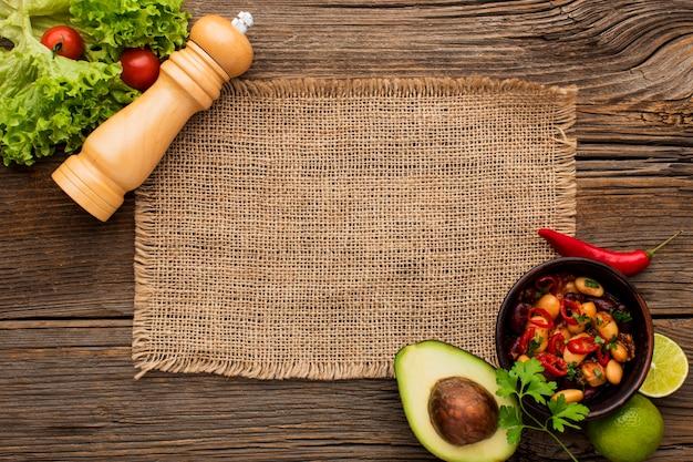 Вид сверху вкусная мексиканская еда готова быть подан Premium Фотографии