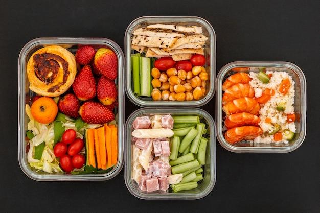 Вид сверху вкусной упакованной еды Бесплатные Фотографии