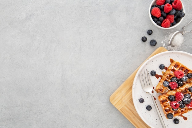Вид сверху вкусные сладкие вафли Бесплатные Фотографии