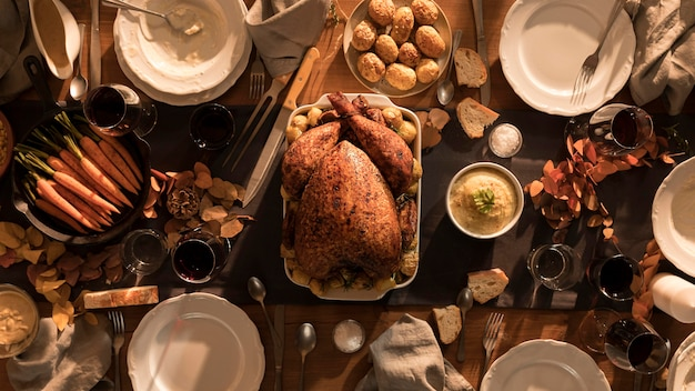 Top view of delicious thanksgiving meal Premium Photo