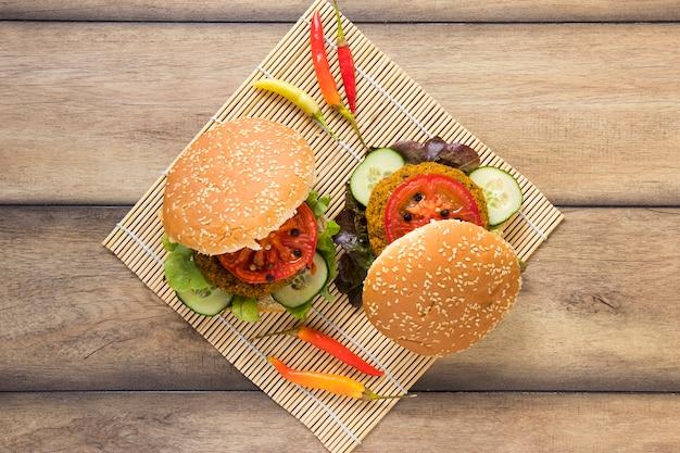 Top view delicious vegan burgers Free Photo