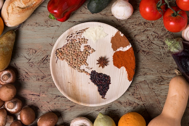 Вид сверху вкусные овощи и бобы Бесплатные Фотографии