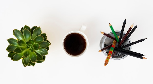 Top view desk concept with white background Free Photo