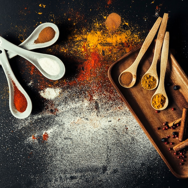 Top view of different spices Free Photo