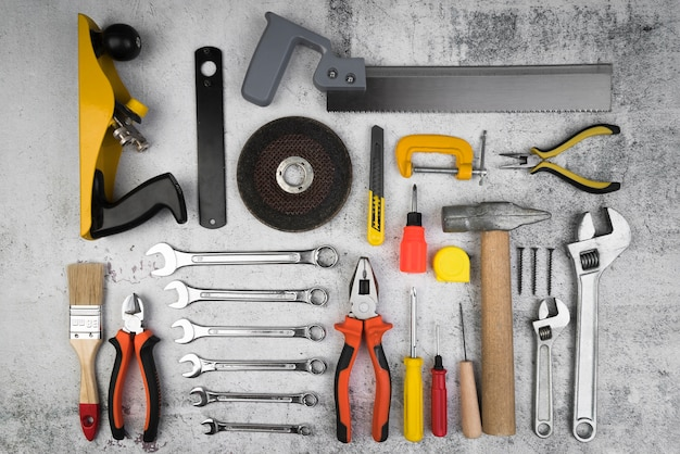 Top view different types of tools Premium Photo
