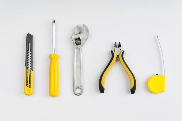 Top view different types of tools Free Photo