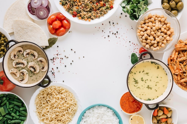 Top view of dishes with soups and copy space Free Photo