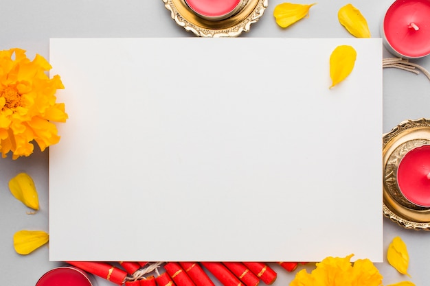 Top view of diwali concept with copy space Premium Photo