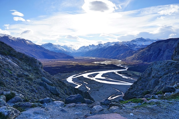 The top view of dried land with curving river at patagonia. Premium Photo