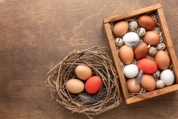 Top view of easter eggs in a box with feathers and next Premium Photo
