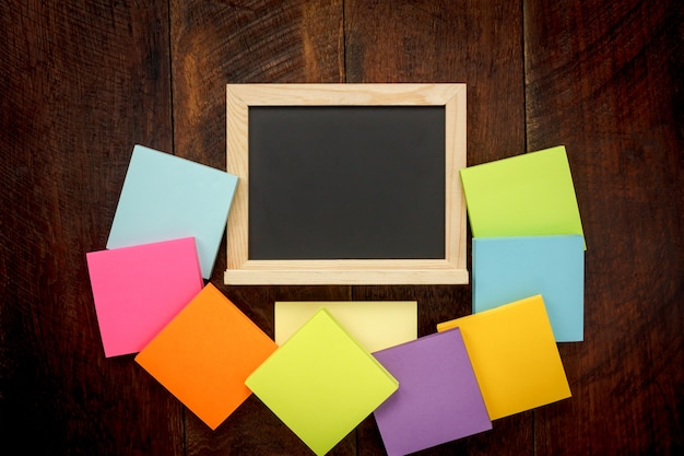 Top View Education Concept The Accessories Back To School The Black Board  And Color Ful Notepaper