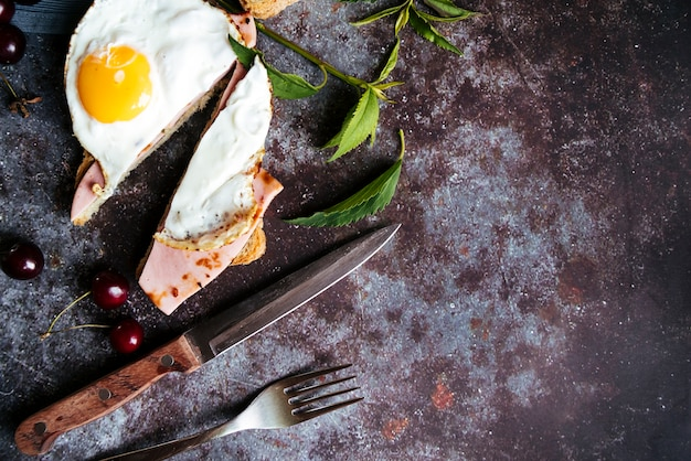 Top view egg and ham toast with copy space Free Photo