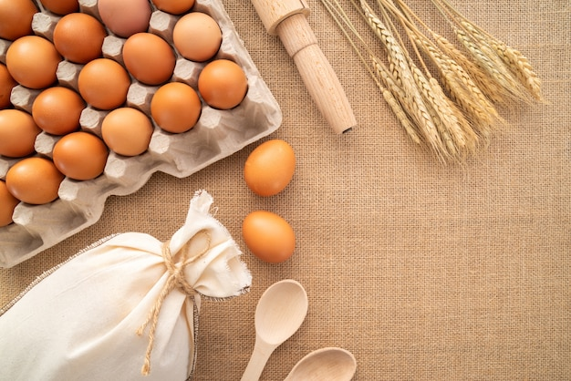 Top view eggs with supplies and copy-paste Premium Photo