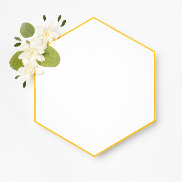 Top view elegant golden frame with leaves Premium Photo