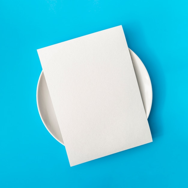 Top view of empty paper on plate Free Photo