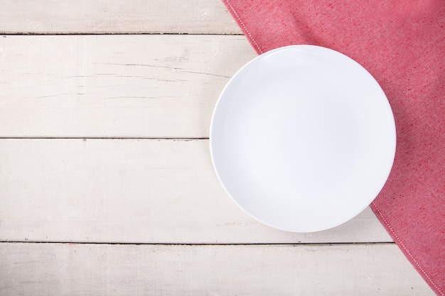 Incredible Top View Of Empty White Plate Put On Red Tablecloth And Download Free Architecture Designs Grimeyleaguecom