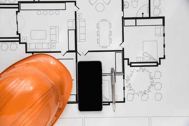 Top view engineer plan on wood background Free Photo