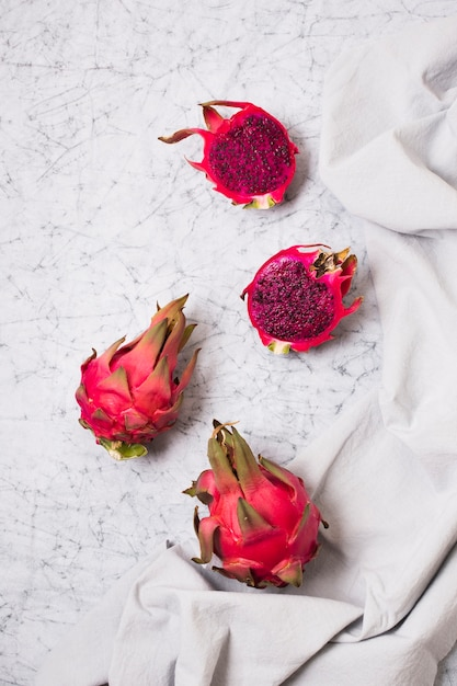 Top view exotic dragon fruit ready to be served Free Photo