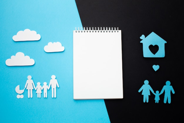 Top view family concept with notebook Free Photo