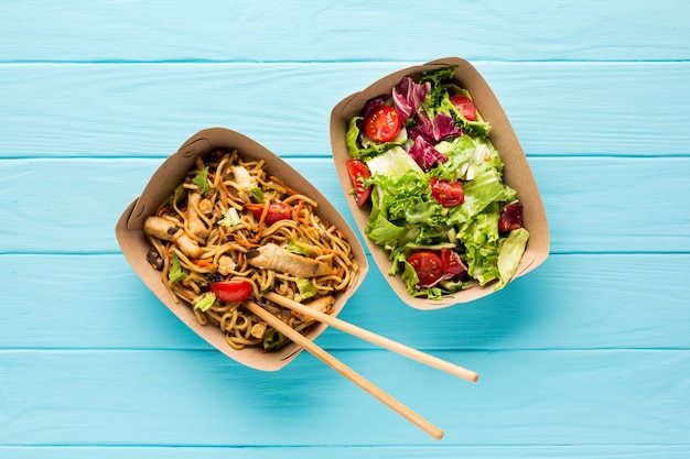 Top view fast food salad and asian dish Free Photo