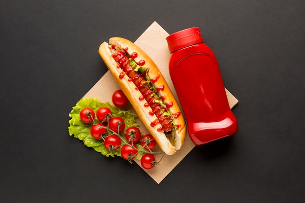 Top view fast food with tomatoes Free Photo