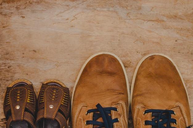 Top view of father's day composition with shoes Free Photo