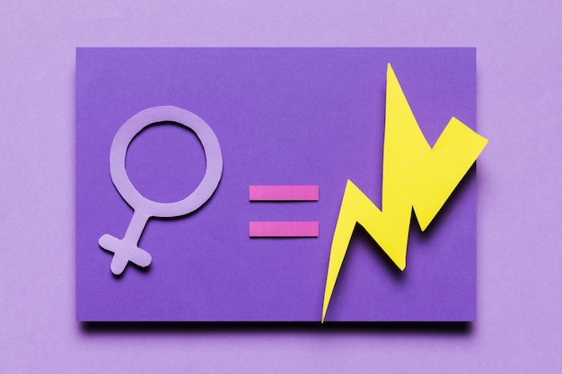 Top view feminine sign equal power thunders Free Photo