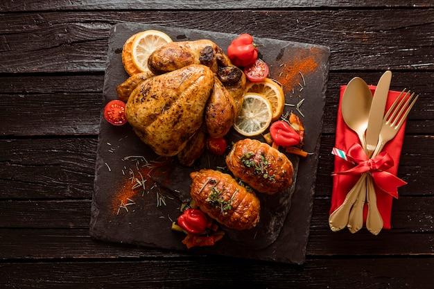 Вид сверху праздничный рождественский ужин Бесплатные Фотографии