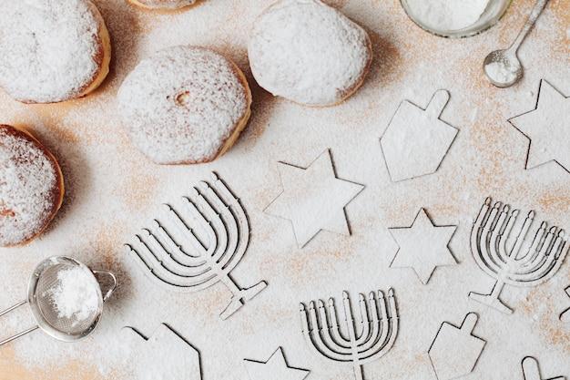 Top view festive hanukkah sweets Free Photo