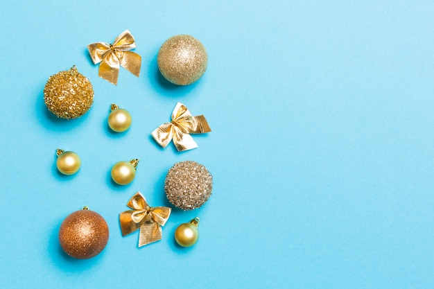 Top view of festive winter composition with empty space for your design Premium Photo