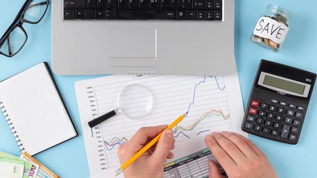 Top view finances elements arrangement Free Photo