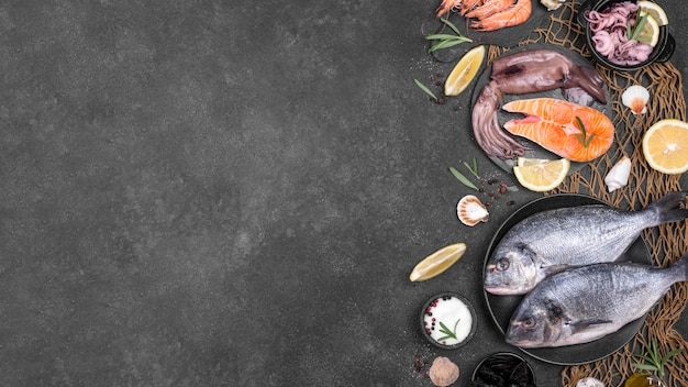 トップビューの魚や食材のコピースペース 無料写真