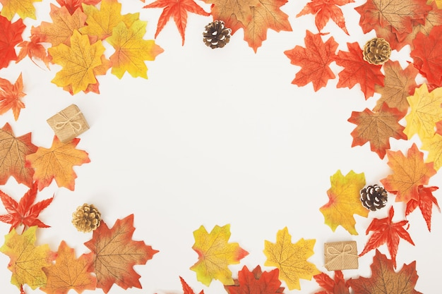 Top view flat lay colorful maple leaves, cones, lovely gift boxes on white Premium Photo