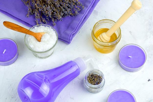 Top view flat lay lavender spa set Premium Photo