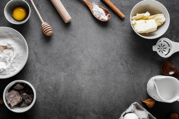 Top view flour with baking tools on the table Free Photo
