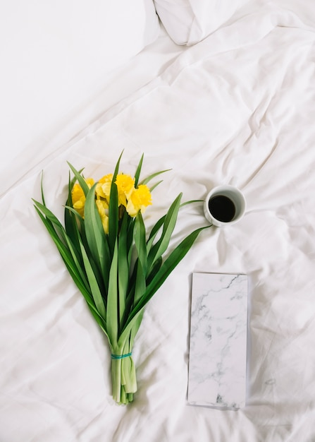 Top view of flowers in bed Free Photo
