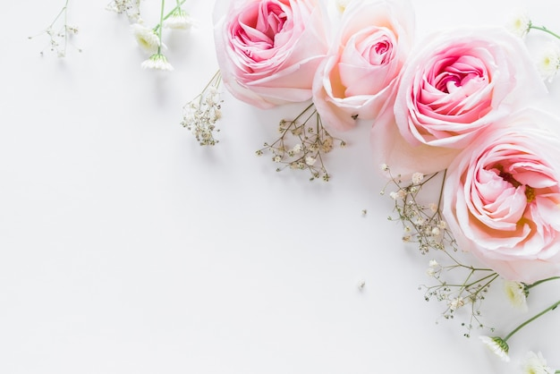 Top view of flowers and leaves Premium Photo
