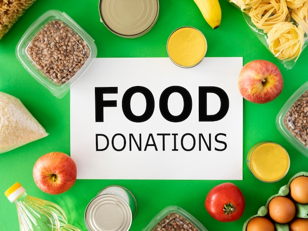 Top view of food for donation Free Photo