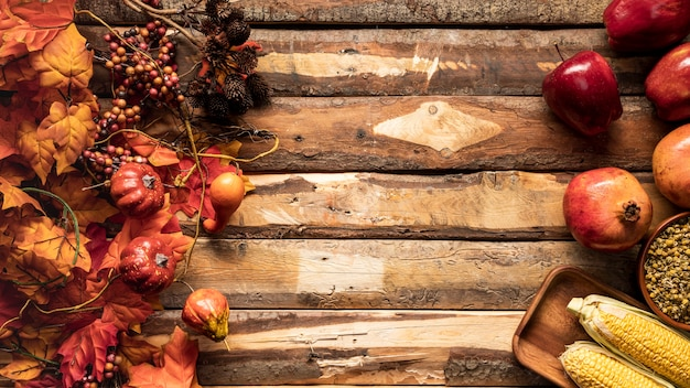 Top view food frame with fruits and grains Free Photo