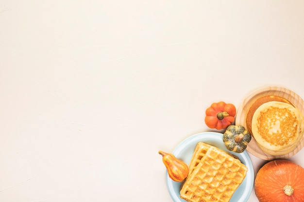 Top view food frame with waffles Free Photo