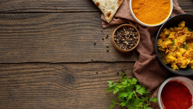 Top view food frame on wooden background Premium Photo