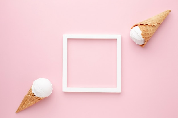 Top view frame and ice cream Free Photo