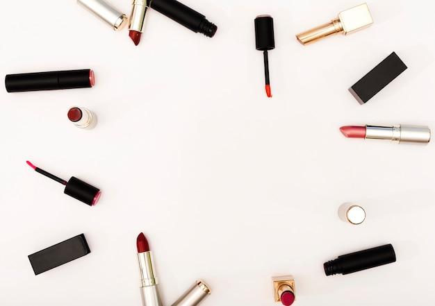 Top view frame of lipsticks Free Photo